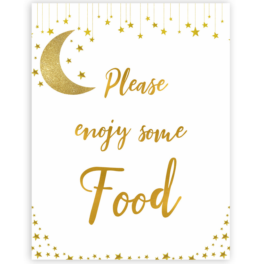 photo about Baby Shower Signs Printable named Food stuff Indication - Minimal Star Printable Little one Shower Indicators