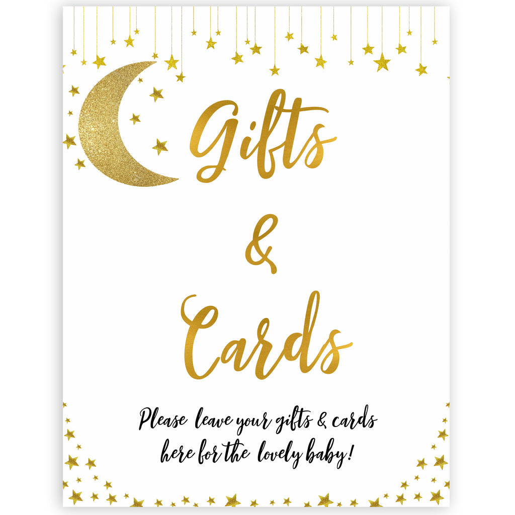 image regarding Baby Shower Signs Printable named Presents Playing cards Indication - Minor Star Printable Boy or girl Shower Signs and symptoms