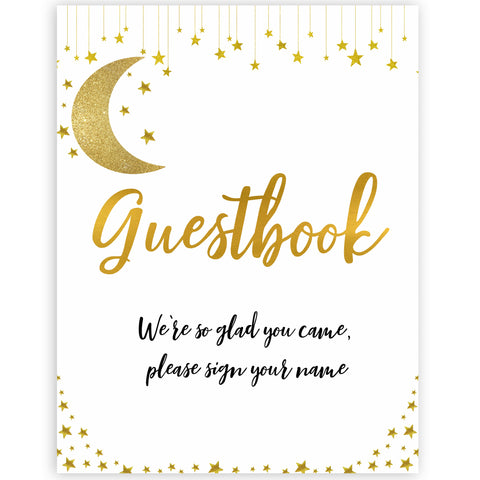 twinkle little star guestbook baby shower signs, printable baby showers, baby signs, little star baby theme, printable games