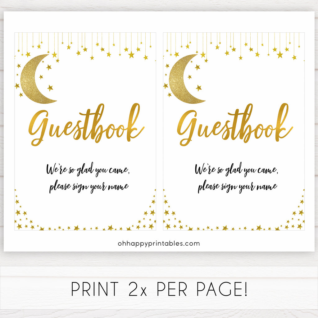 Guestook Sign Little Star Printable Baby Shower Signs