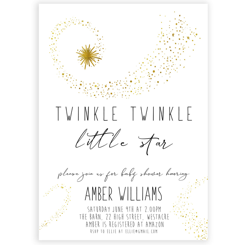 photo regarding Free Printable Twinkle Twinkle Little Star Baby Shower Invitations named Easy Twinkle Tiny Star Editable Invitation - Printable