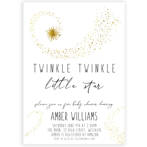 simple twinkle little star baby shower invitation, printable baby shower invitations, baby invites. editable baby shower invites, little star baby invites