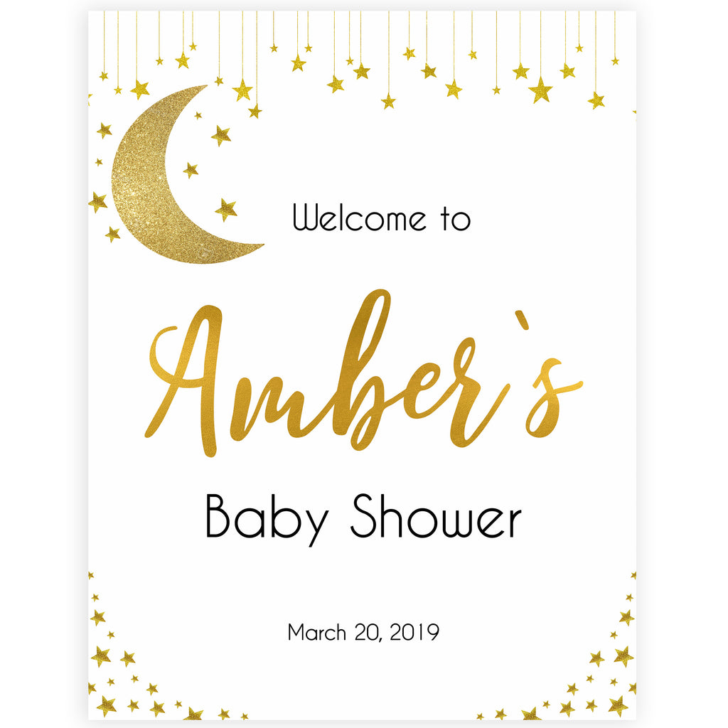 Twinkle Little Star Baby Shower Welcome Sign Editable Template