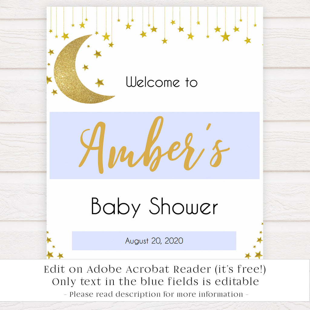 photograph relating to Welcome Sign Template named Twinkle Minor Star Boy or girl Shower Welcome Indicator - Editable