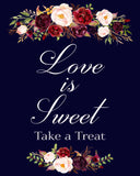 love is sweet take a treat marsala wedding sign printable