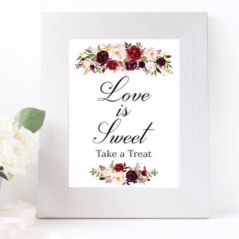 Love is sweet take a treat marsala white design wedding sign