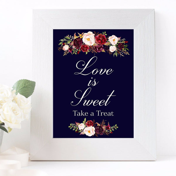 Love is sweet take a treat marsala dark blue wedding sign