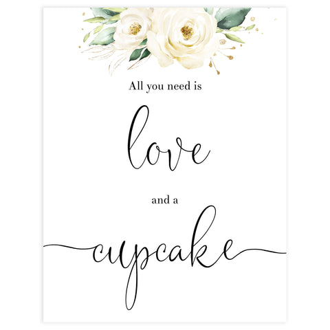 love and a cupcake sign, Printable bridal shower signs, floral bridal shower decor, floral bridal shower decor ideas, fun bridal shower decor, bridal shower game ideas, floral bridal shower ideas