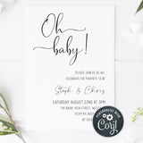 oh baby baby shower invitations, printable baby shower invitations, editable baby shower invites, minimalist baby shower