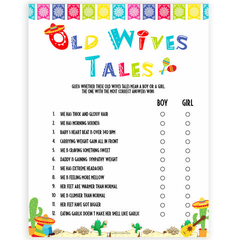 old wives tales games, baby wives tale game, Printable baby shower games, Mexican fiesta fun baby games, baby shower games, fun baby shower ideas, top baby shower ideas, fiesta shower baby shower, fiesta baby shower ideas