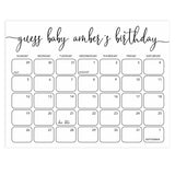 guess the baby birthday game, baby birthday predictions game, minimalist baby shower games, printable baby shower games, fun baby shower ideas