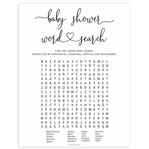 Minimalist baby shower games, word search baby games, 10 baby game bundles, fun baby games, printable baby games, top baby games, popular baby games, labor or porn games, neutral baby games, gender reveal games