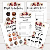 marsala baby shower games, best baby shower games, porn or labor, floral baby shower games