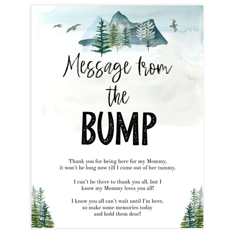 message from the bump sign, Printable baby shower games, adventure awaits baby games, baby shower games, fun baby shower ideas, top baby shower ideas, adventure awaits baby shower, baby shower games, fun adventure baby shower ideas