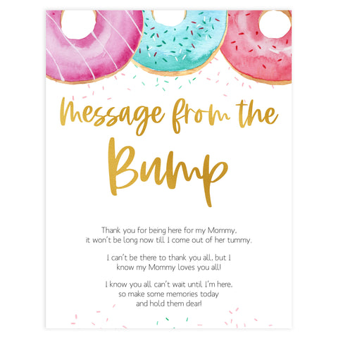 message from the bump game, Printable baby shower games, donut baby games, baby shower games, fun baby shower ideas, top baby shower ideas, donut sprinkles baby shower, baby shower games, fun donut baby shower ideas