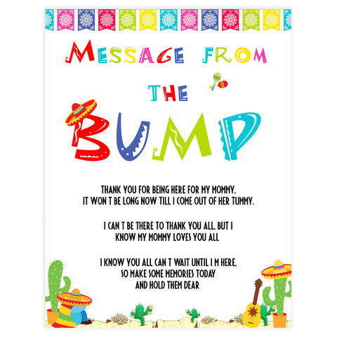 message from the bump game, Printable baby shower games, Mexican fiesta fun baby games, baby shower games, fun baby shower ideas, top baby shower ideas, fiesta shower baby shower, fiesta baby shower ideas