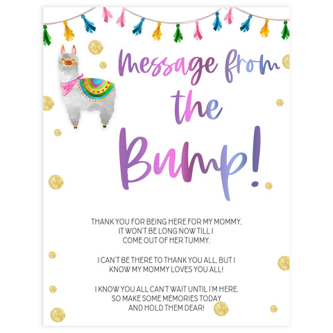 message from the bump game, Printable baby shower games, llama fiesta fun baby games, baby shower games, fun baby shower ideas, top baby shower ideas, Llama fiesta shower baby shower, fiesta baby shower ideas
