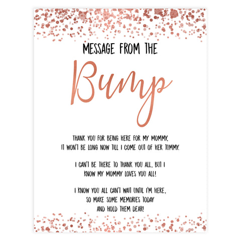 message from the bump game, Printable baby shower games, rose gold fun baby games, baby shower games, fun baby shower ideas, top baby shower ideas, blush baby shower, rose gold baby shower ideas