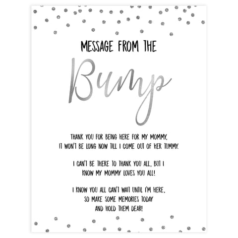 message from the bump game, Printable baby shower games, baby silver glitter fun baby games, baby shower games, fun baby shower ideas, top baby shower ideas, silver glitter shower baby shower, friends baby shower ideas