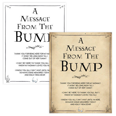 Message From the Bump Baby Sign, Wizard baby shower games, printable baby shower games, Harry Potter baby games, Harry Potter baby shower, fun baby shower games,  fun baby ideas