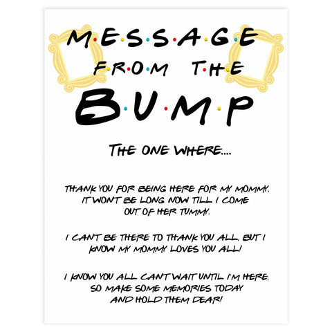 Message from the bump, baby message, Printable baby shower games, friends fun baby games, baby shower games, fun baby shower ideas, top baby shower ideas, friends baby shower, friends baby shower ideas
