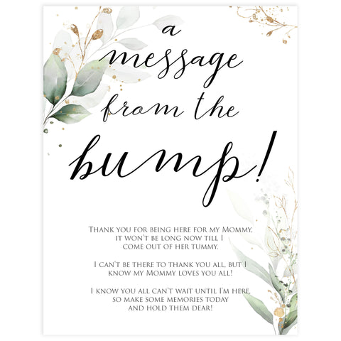 Gold green leaf baby games, message from the bump, printable baby games, fun baby games, top baby games to play, gold leaf baby shower, greenery baby shower ideas