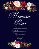 Mimosa Bar wedding sign marsala floral design printable
