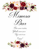 Mimosa Bar marsala flower wedding sign printable