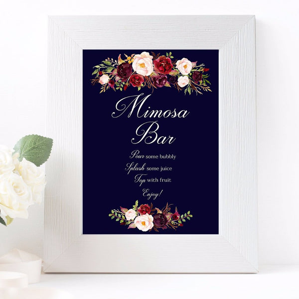 Mimosa Bar wedding sign marsala floral ark blue design printable