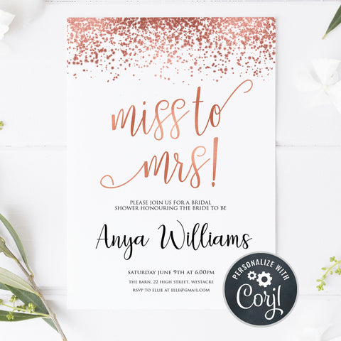 Miss to Mrs invite, rose gold hen party invite, editable hen party invite, corjl editable invite, cell phone bridal shower invite