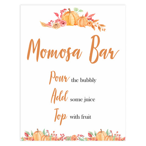Fall pumpkin baby decor, momosa baby sign, mumosa baby signs, printable baby signs, fall baby shower, pumpkin baby shower, autumnal baby games, top 10 baby games, best baby games
