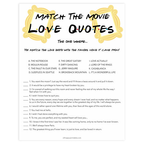 match the love quotes, Printable bridal shower games, friends bridal shower, friends bridal shower games, fun bridal shower games, bridal shower game ideas, friends bridal shower
