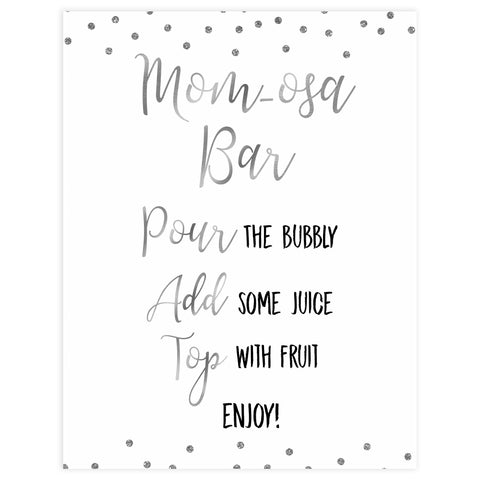 momosa table baby signs, Baby silver glitter baby decor, printable baby table signs, printable baby decor, baby silver glitter table signs, fun baby signs, baby silver fun baby table signs