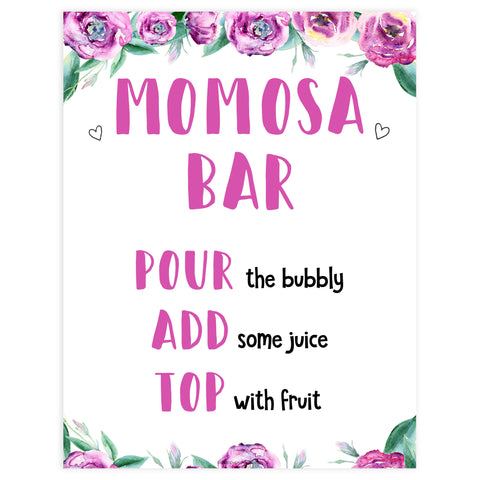 momosa baby shower sign, printable baby shower decor, purple peonies baby shower signs, mumosa baby shower signs, fun baby shower decor