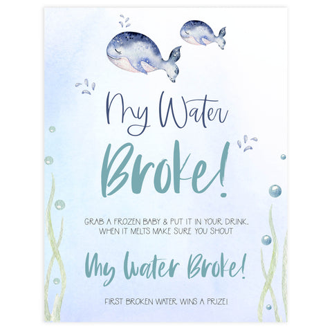 my waters broke game,  Printable baby shower games, whale baby games, baby shower games, fun baby shower ideas, top baby shower ideas, whale baby shower, baby shower games, fun whale baby shower ideas