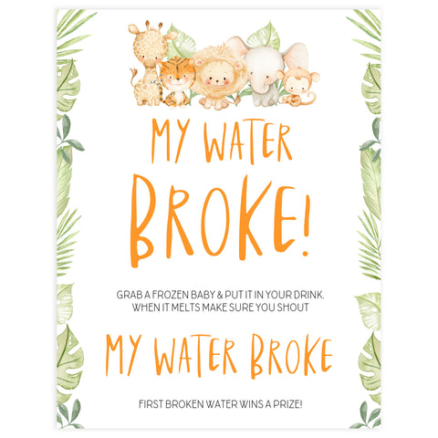 my water broke game, Printable baby shower games, safari animals baby games, baby shower games, fun baby shower ideas, top baby shower ideas, safari animals baby shower, baby shower games, fun baby shower ideas