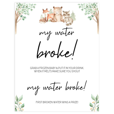 my water broke baby game, Printable baby shower games, woodland animals baby games, baby shower games, fun baby shower ideas, top baby shower ideas, woodland baby shower, baby shower games, fun woodland animals baby shower ideas