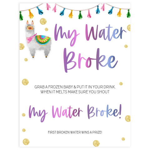 my waters broke game, Printable baby shower games, llama fiesta fun baby games, baby shower games, fun baby shower ideas, top baby shower ideas, Llama fiesta shower baby shower, fiesta baby shower ideas