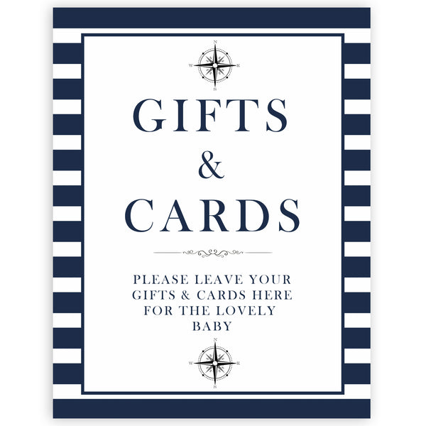 nautical gifts and cards sign, nautical baby signs, printable baby shower signs, fun baby shower signs, ahoy its a boy signs
