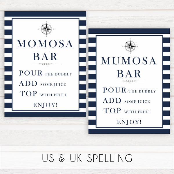 momosa baby sign, mumosa sign, nautical baby shower, nautical baby signs, fun baby signs, nautical baby decor, printable baby decor, ahoy its a boy