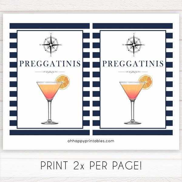 nautical preggatinis baby shower signs, preggatinis, baby shower signs, ahoy its a boy sign, nautical baby signs, printable baby signs