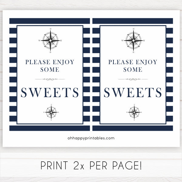 nautical sweets baby signs, sweets sign, nautical baby signs, nautical baby shower, nautical baby decor, sweets sign, printable baby signs