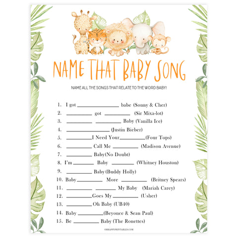 name that baby song game, Printable baby shower games, safari animals baby games, baby shower games, fun baby shower ideas, top baby shower ideas, safari animals baby shower, baby shower games, fun baby shower ideas