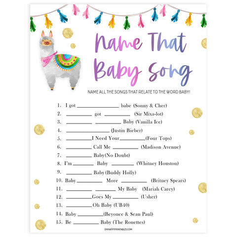name that baby song game, Printable baby shower games, llama fiesta fun baby games, baby shower games, fun baby shower ideas, top baby shower ideas, Llama fiesta shower baby shower, fiesta baby shower ideas