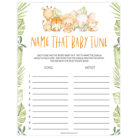 name that baby tune game, Printable baby shower games, safari animals baby games, baby shower games, fun baby shower ideas, top baby shower ideas, safari animals baby shower, baby shower games, fun baby shower ideas