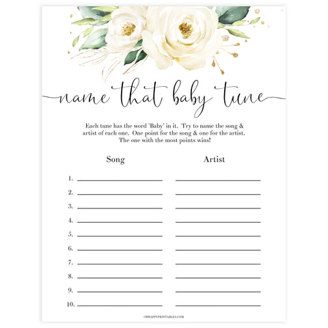 name that baby tune game, Printable baby shower games, shite floral baby games, baby shower games, fun baby shower ideas, top baby shower ideas, floral baby shower, baby shower games, fun floral baby shower ideas