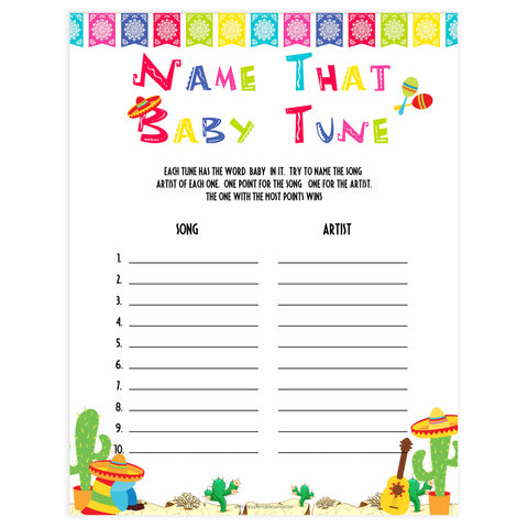 name that baby tune game, Printable baby shower games, Mexican fiesta fun baby games, baby shower games, fun baby shower ideas, top baby shower ideas, fiesta shower baby shower, fiesta baby shower ideas