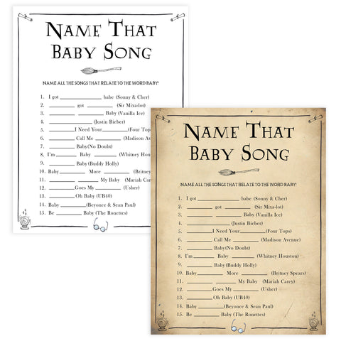 Name That Baby Song Game, Wizard baby shower games, printable baby shower games, Harry Potter baby games, Harry Potter baby shower, fun baby shower games,  fun baby ideas
