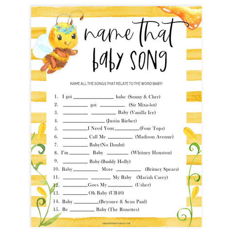 name that baby song game, Printable baby shower games, mommy bee fun baby games, baby shower games, fun baby shower ideas, top baby shower ideas, mommy to bee baby shower, friends baby shower ideas