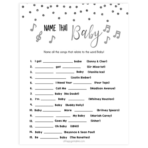 name that baby song, Printable baby shower games, baby silver glitter fun baby games, baby shower games, fun baby shower ideas, top baby shower ideas, silver glitter shower baby shower, friends baby shower ideas